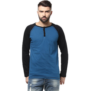 Unisopent Designs Solid Mens Henley Raglan Full Sleeves T-shirt