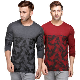 Unisopent Designs Round Neck Full Sleeves Printed T-shirt Pack of 2