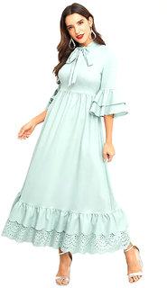 Aashish Fabrics - Light Blue Crepe Cutout Ruffle Peplum Women Maxi Dress