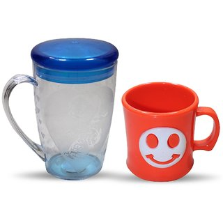 Cartoon-Emoji Embroidered Tea or coffee Cups Combo(2pcs) for kids Plastic Mug (200 ml)