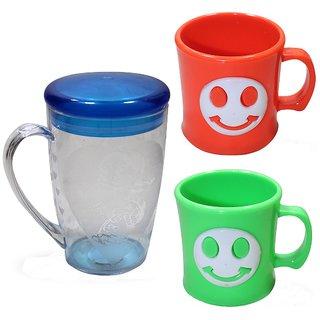 Cartoon-Emoji Embroidered Tea or coffee Cups Combo(3pcs) for kids Plastic Mug (200 ml)
