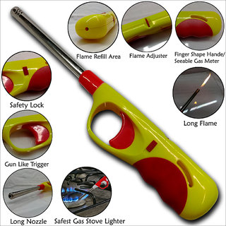 Long Nozzel Electronic Adjustable Flame Refillable Gas Lighter Non-Stop Spark Kitchen Lighter With Safety Lock