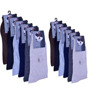 Mid-Calf Men's and Women's Cotton Fabrics Crew Cotton Socks Pack of 12