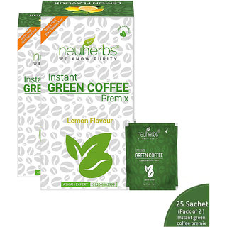 Neuherbs Instant Green Coffee Premix with Lemon Flavour for Weight Management (20+5 Sachet), Each 3g (Pack of 2)
