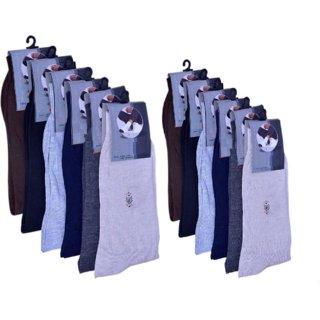 Mid-Calf Men's and Women's Cotton Fabrics Crew Cotton Socks Pack of 10