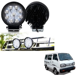 Auto Addict DEVICE 4 inch, 9 LED 27Watt Round Fog Light with Flood Beam Auxiliary Lamp Set Of 2 Pcs For Maruti Suzuki Omni