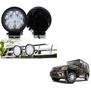 Auto Addict DEVICE 4 inch, 9 LED 27Watt Round Fog Light with Flood Beam Auxiliary Lamp Set Of 2 Pcs For Mahindra Bolero
