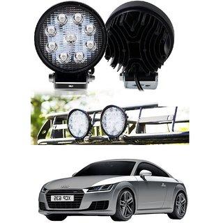 Auto Addict DEVICE 4 inch 9 LED 27Watt Round Fog Light with Flood Beam Auxiliary Lamp Set Of 2 Pcs For Audi TT