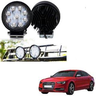 Auto Addict DEVICE 4 inch 9 LED 27Watt Round Fog Light with Flood Beam Auxiliary Lamp Set Of 2 Pcs For Audi S5