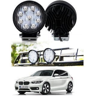 Auto Addict DEVICE 4 inch 9 LED 27Watt Round Fog Light with Flood Beam Auxiliary Lamp Set Of 2 Pcs For BMW 1 Series