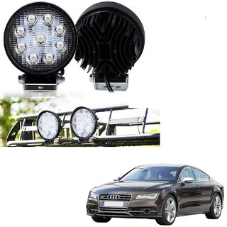 Auto Addict DEVICE 4 inch 9 LED 27Watt Round Fog Light with Flood Beam Auxiliary Lamp Set Of 2 Pcs For Audi NA