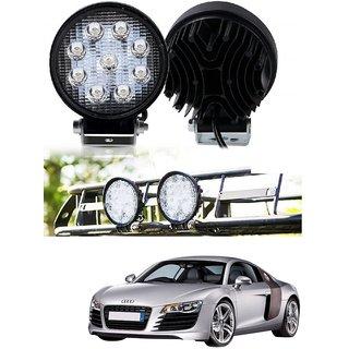 Auto Addict DEVICE 4 inch 9 LED 27Watt Round Fog Light with Flood Beam Auxiliary Lamp Set Of 2 Pcs For Audi R8