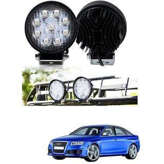 Auto Addict DEVICE 4 inch 9 LED 27Watt Round Fog Light with Flood Beam Auxiliary Lamp Set Of 2 Pcs For Audi RS 6