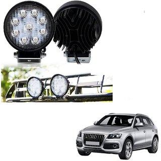 Auto Addict DEVICE 4 inch 9 LED 27Watt Round Fog Light with Flood Beam Auxiliary Lamp Set Of 2 Pcs For Audi Q5