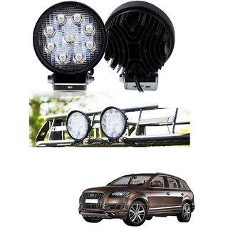 Auto Addict DEVICE 4 inch 9 LED 27Watt Round Fog Light with Flood Beam Auxiliary Lamp Set Of 2 Pcs For Audi Q7