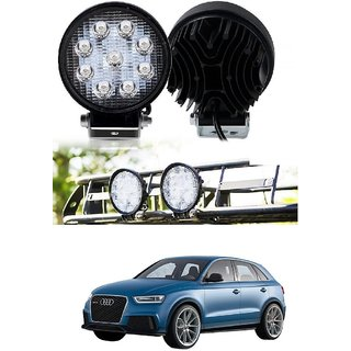 Auto Addict DEVICE 4 inch 9 LED 27Watt Round Fog Light with Flood Beam Auxiliary Lamp Set Of 2 Pcs For Audi Q3