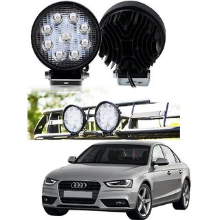 Auto Addict DEVICE 4 inch 9 LED 27Watt Round Fog Light with Flood Beam Auxiliary Lamp Set Of 2 Pcs For Audi A4