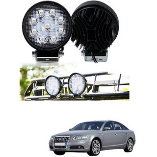 Auto Addict DEVICE 4 inch 9 LED 27Watt Round Fog Light with Flood Beam Auxiliary Lamp Set Of 2 Pcs For Audi A6