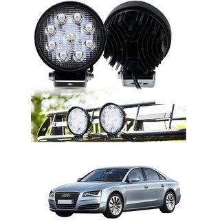 Auto Addict DEVICE 4 inch 9 LED 27Watt Round Fog Light with Flood Beam Auxiliary Lamp Set Of 2 Pcs For Audi A8