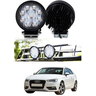 Auto Addict DEVICE 4 inch 9 LED 27Watt Round Fog Light with Flood Beam Auxiliary Lamp Set Of 2 Pcs For Audi A3