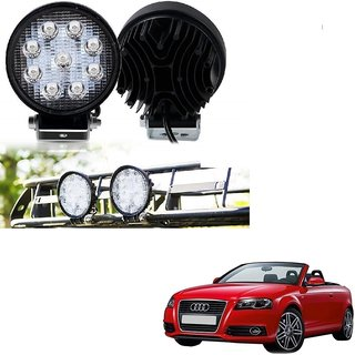 Auto Addict DEVICE 4 inch 9 LED 27Watt Round Fog Light with Flood Beam Auxiliary Lamp Set Of 2 Pcs For Audi A3 Cabriolet