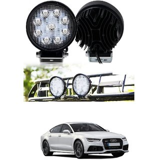 Auto Addict DEVICE 4 inch 9 LED 27Watt Round Fog Light with Flood Beam Auxiliary Lamp Set Of 2 Pcs For Audi A7