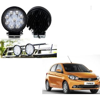 Auto Addict DEVICE 4 inch 9 LED 27Watt Round Fog Light with Flood Beam Auxiliary Lamp Set Of 2 Pcs For Tata Tiago