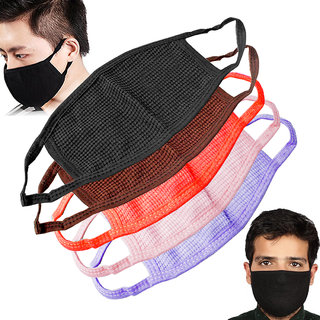 Set Of 5 Unisex Colorful Anti Dust Pollution Cotton Polyester Bland Mouth Nose Respirator Face Masks Riding Gear