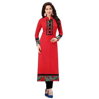 Omstar Fashion By Designer Red Color Indo Cotton Printed Semi Stitched Woman Kurti (KRT 63)