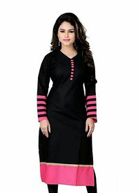 Omstar Fashion By Designer Black Color Indo Cotton Semi Stitched Woman Kurti (DOT BLACK 01)