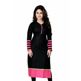 Omstar Fashion By Designer Black Color Indo Cotton Semi Stitched Woman Kurti (DOT BLACK 01)