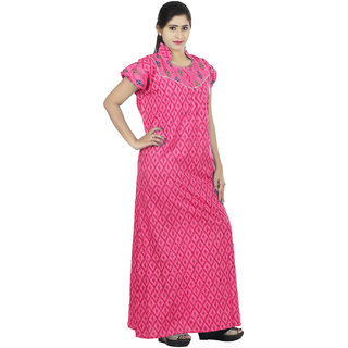 Pink colour Geometric Design Printed Collar Neck Cotton Nighty For Ladies  Nightwear Full Length Women Night Gown Short Sleeves (Free Size) f1595a41d