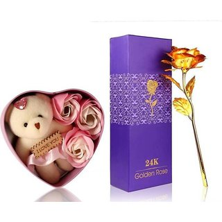 GoodsBazaar 24K Golden Rose with Gift Box and Carry Bag and Heart Shape Gift Box with Teddy - Best Valentine's Day Gift Birthday Gifts Gold Dipped Rose