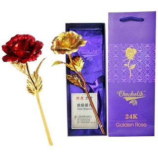 GoodsBazaar 24K Golden Rose Red Combo Gift Box And Carry Bag