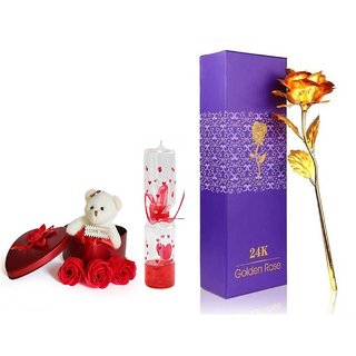 GoodsBazaar 24K Golden Rose with Gift Box and Heart Shape Gift Box with Teddy and Love Meter Combo Gifts Pack Best Valentine's Day Gift
