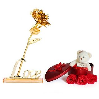 GoodsBazaar 24K Golden Rose with Love Stand Gift Box and Heart Shape Gift Box with Teddy and Love Meter Combo Gifts Pack Best Valentine's Day Gift