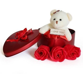 GoodsBazaar Fabric Teddy Box with Three Fancy Rose Metal Box Combo Gifts Pack Best Valentine's Day Gift