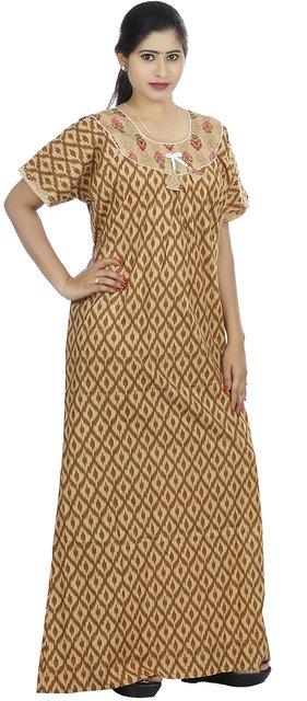 Brown colour Geometric Design Printed Round Neck Cotton Nighty For Ladies  Nightwear Full Length Women Night ... 85cf595b2