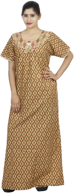 ... Brown colour Geometric Design Printed Round Neck Cotton Nighty For Ladies  Nightwear Full Length Women Night 660a18fe4