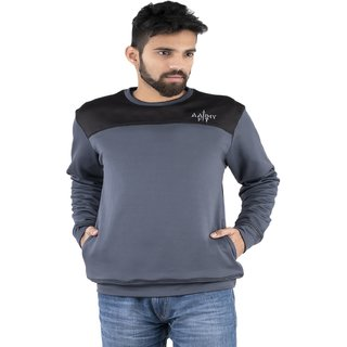 Aarmy Fit Mens Grey Round Neck Sweatshirt Jacket