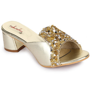 Funku Fashion Women Golden Block Heels