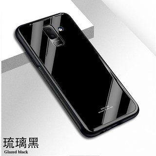 Luxurious Shockproof TPU Bumper Back Glass Case Cover for Samsung Galaxy J8 - Black