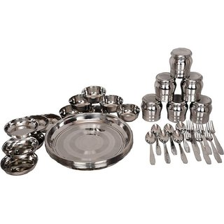 LiMETRO Best Quality High Life Stainless Steel Chain Set Pack of 36 Dinner Set  (Steel)