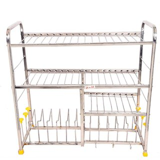 LiMETRO Stainless Steel (24X24) Kitchen Dish Rack Plate Cutlery Stand / Kitchen Utensils Rack / Modern Kitchen Storage R