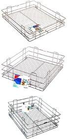 Rwood plain  modular kitchen basket ,Size 17x20 inch  ( set of 3 pcs ) kitchen drawer - kitchen storage basket