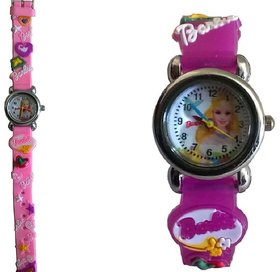 Barbie analog purple and baby pink colour fancy kids girls watch combo watch