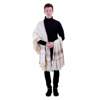 Varun Cloth House Mens Woollen Embellished Shawl/Lohi (vch5528 Off-White Free Size)