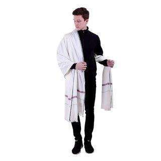 Varun Cloth House Mens Woollen Embellished Shawl/Lohi (vch5531 White Free Size)