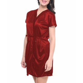 Hot and Saxy women satin maroon free size robs or night dress
