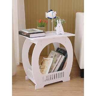 SS Arts Engineered Wood Table with Storage rack(White)